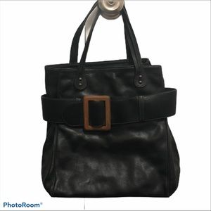 Barney's New York leather purse hand bag with wood